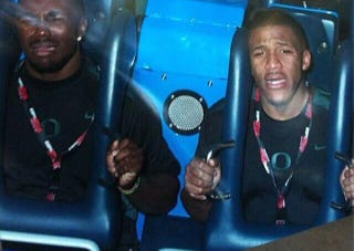 Illustration for article titled Here's LaMichael James Looking Terrified On A Roller Coaster