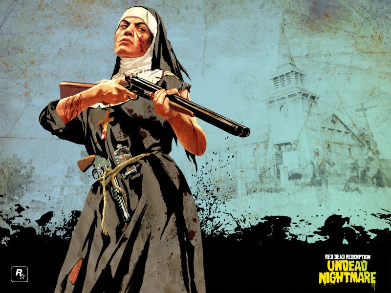 Illustration for article titled Red Dead Redemption Presents Nuns With Guns