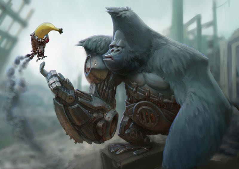 Illustration for article titled Concept Art Writing Prompt: The Cyborgorilla and the Banana Robot