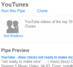 Illustration for article titled YouTunes iTunes/YouTube mashup with Pipes