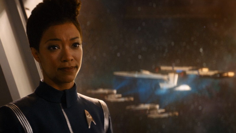 The critically damaged Enterprise is dragged away in Star Trek: Discovery season 2's premiere.