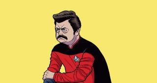 Illustration for article titled This Parks and Recreation/Star Trek Mashup Art Is Just Perfect