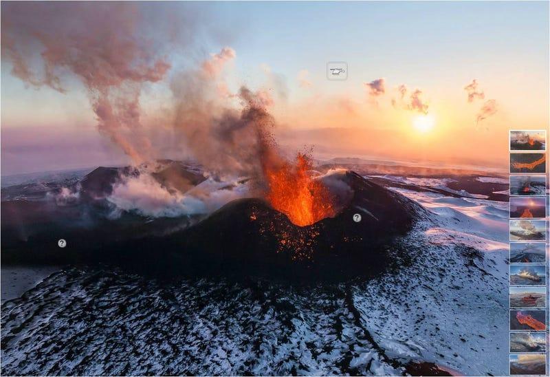 Illustration for article titled Espectacular panorámica de 4 volcanes en erupción simultánea