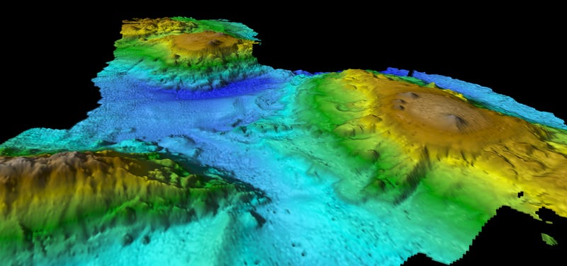 Multibeam mapping reveals a segment of the seamount chain.