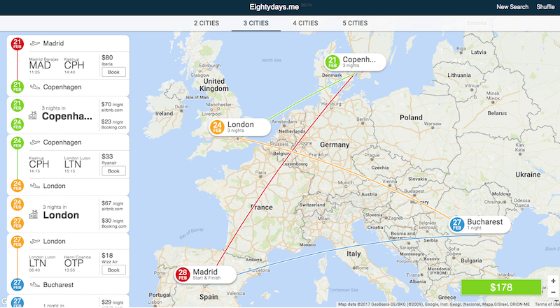 Eightydays Helps Plan Your MultiCity Trip – World Map For Travel Planning