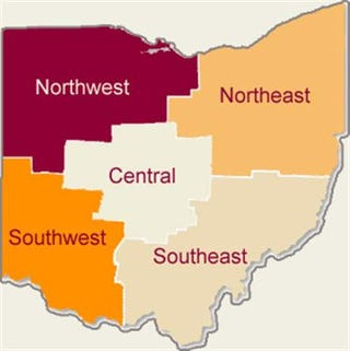 The five regions of the Buckeye State. A land divided means all bets are off come November.
