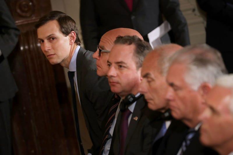White House senior adviser, and son-in-law to the president, Jared Kushner (far left) joins other Cabinet members and senior members of the Trump administration during a news conference with President Donald Trump and Colombian President Juan Manuel Santos in the East Room of the White House on May 18, 2017. (Chip Somodevilla/Getty Images)