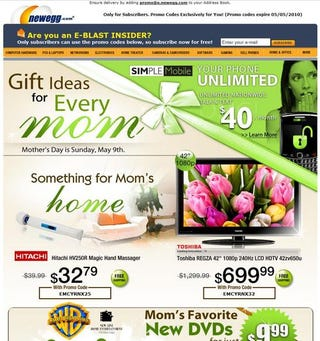 Illustration for article titled NewEgg's Gift Advice For Your Sexually Frustrated Mom