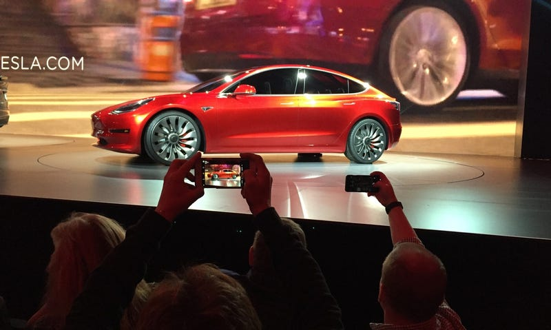 Tesla Motors unveils the new lower-priced Model 3 on March 31, 2016 (Associated Press)