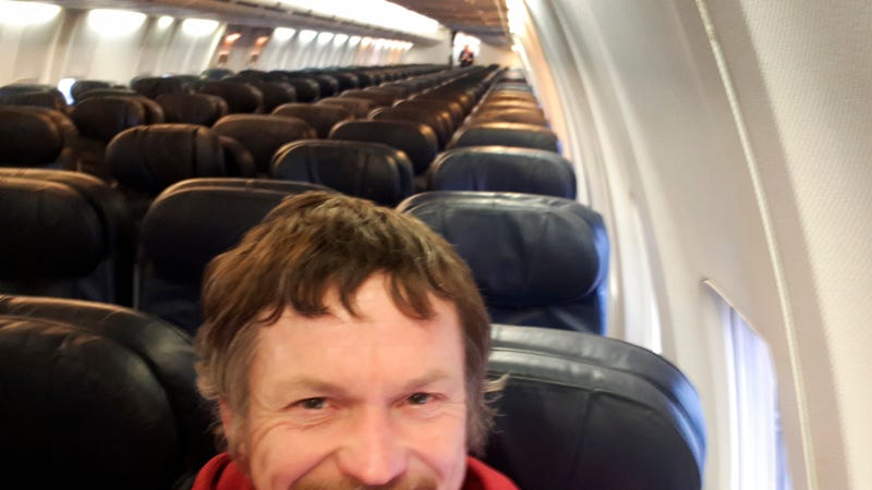 Skirmantas Strimaitis takes a selfie onboard a Boeing 737-800 airplane, taking off from Vilnius, Lithuania, March 16, 2019, as the only passenger aboard. The aircraft with two pilots and five crew members and which usually can sit up to 188 people, flew to Bergamo, Italy.