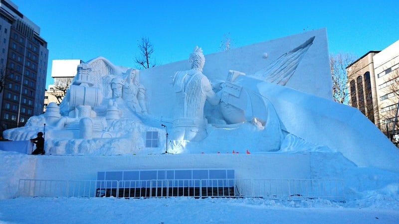 Final Fantasy VII Remade As A Huge Snow Sculpture