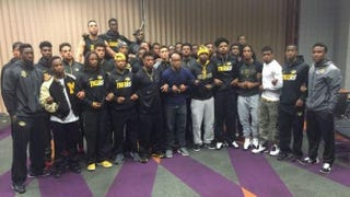 Missouri players stand united in calling for president Tim Wolfe to step down.@1Sherrils_2MIZZ via Twitter