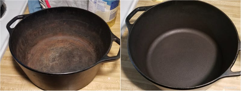 Rust removed and seasoned. I didn't actually strip the initial seasoning as the pan looked clean.