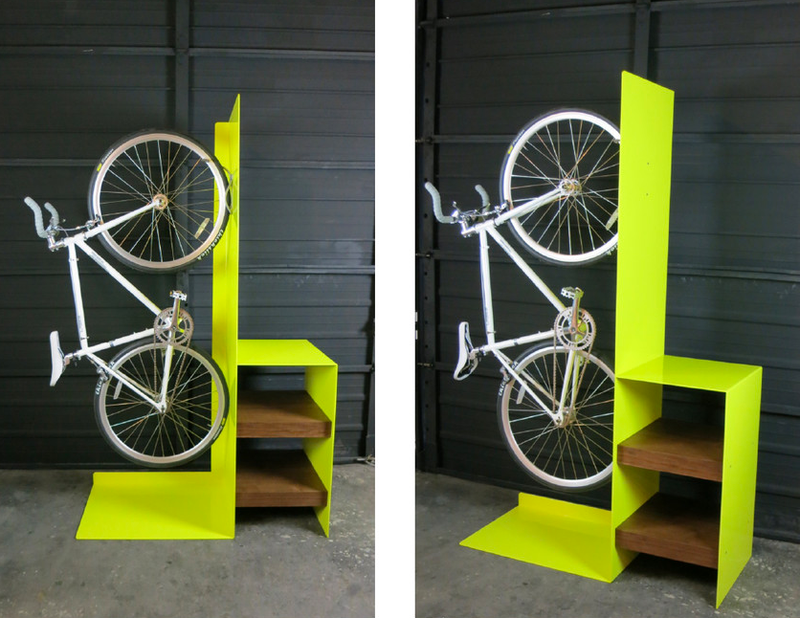 Illustration for article titled Neon Bike Shelf Is a Fantastic Way to Stash Your Wheels
