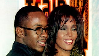 Whitney Houston poses with her husband, Bobby Brown, at the Eighth Annual Soul Train Music Awards March 15, 1994.VINCE BUCCI/AFP/Getty Images