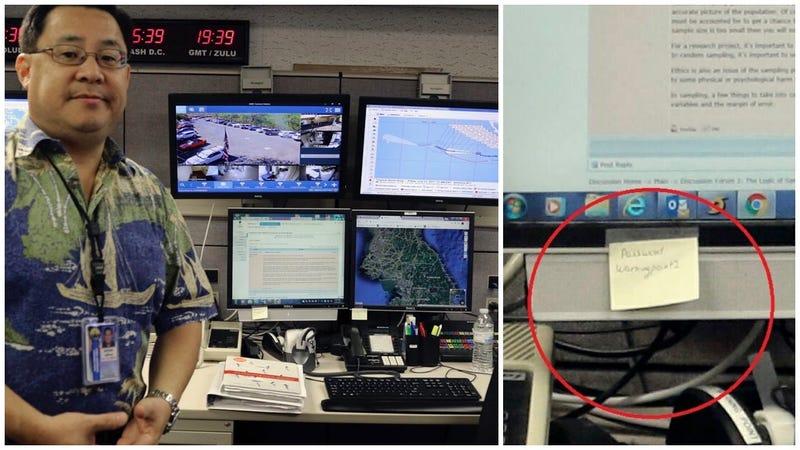 Illustration for article titled Los funcionarios que emiten las alertas de misiles en Hawái posaron para una entrevista con su contraseña en un post-it
