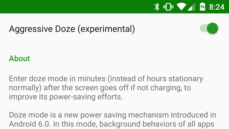 Illustration for article titled Use Greenify's Aggressive Doze Mode to Save Even More Battery on Android