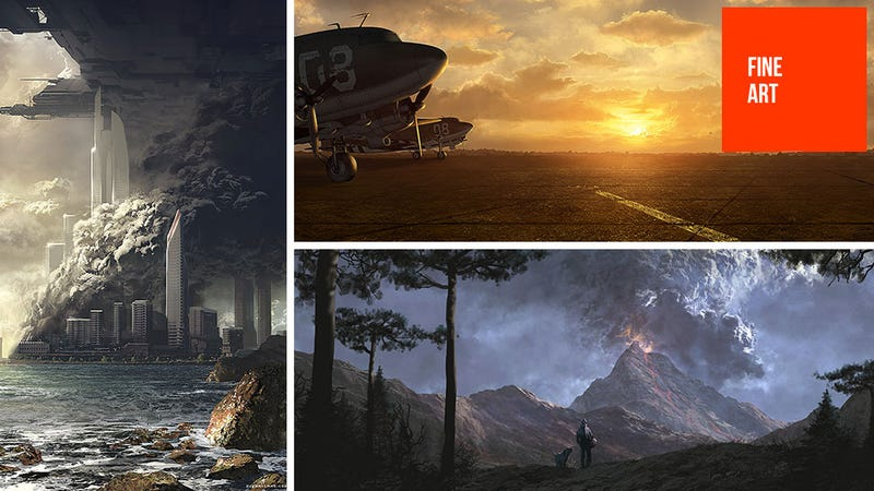 Illustration for article titled Nazi Explosions Meet Beautiful Landscape Paintings in This Video Game Concept Art