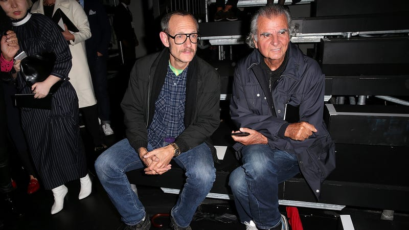 Patrick Demarchelier, right, with Terry Richardson. Image via Getty.