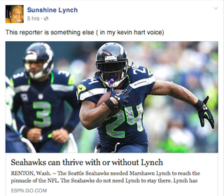 """Illustration for article titled Marshawn Lynch's Mom: """"REPORTERS DON'T THINK, THEY GUESS"""""""
