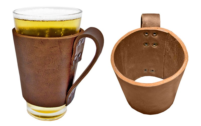 Illustration for article titled Keep Your Beer Cold With the Handmade Leather Pint Sleeve (50% Off)