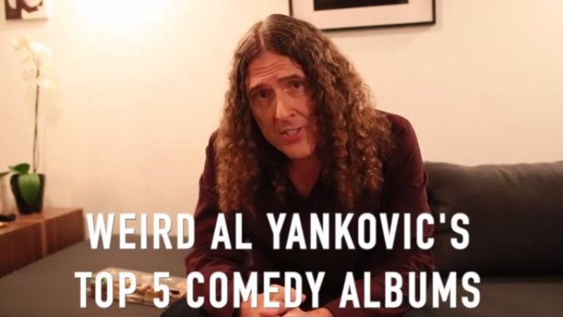 "Illustration for article titled ""Weird Al"" pays thoughtful, sincere tribute to his favorite comedy LPs"