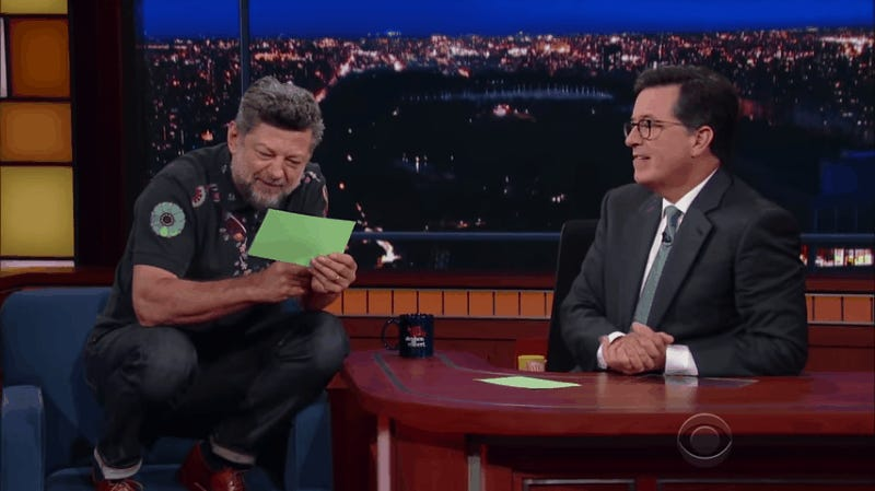 Watch Andy Serkis Read Trump's Tweets As 'Gollum' On The Late Show