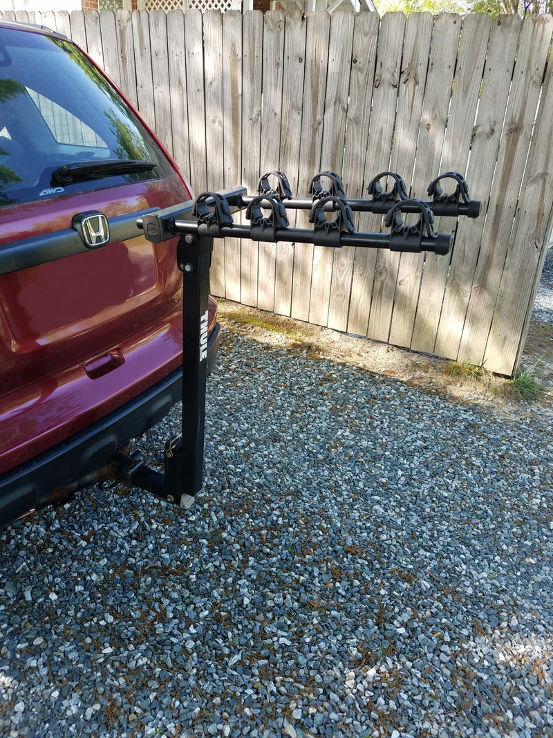 Illustration for article titled Just bought this nifty hitch mount bike rack.