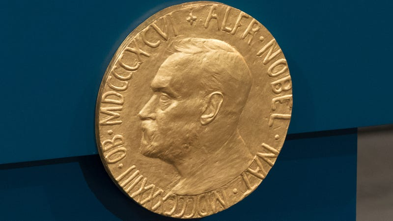 A plaque depicting Alfred Nobel at the Nobel Peace Prize ceremony held in Oslo, Norway in 2015.