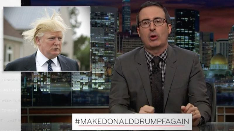 "Illustration for article titled Last Week Tonight With John Oliver introduces the world to ""Donald Drumpf"""
