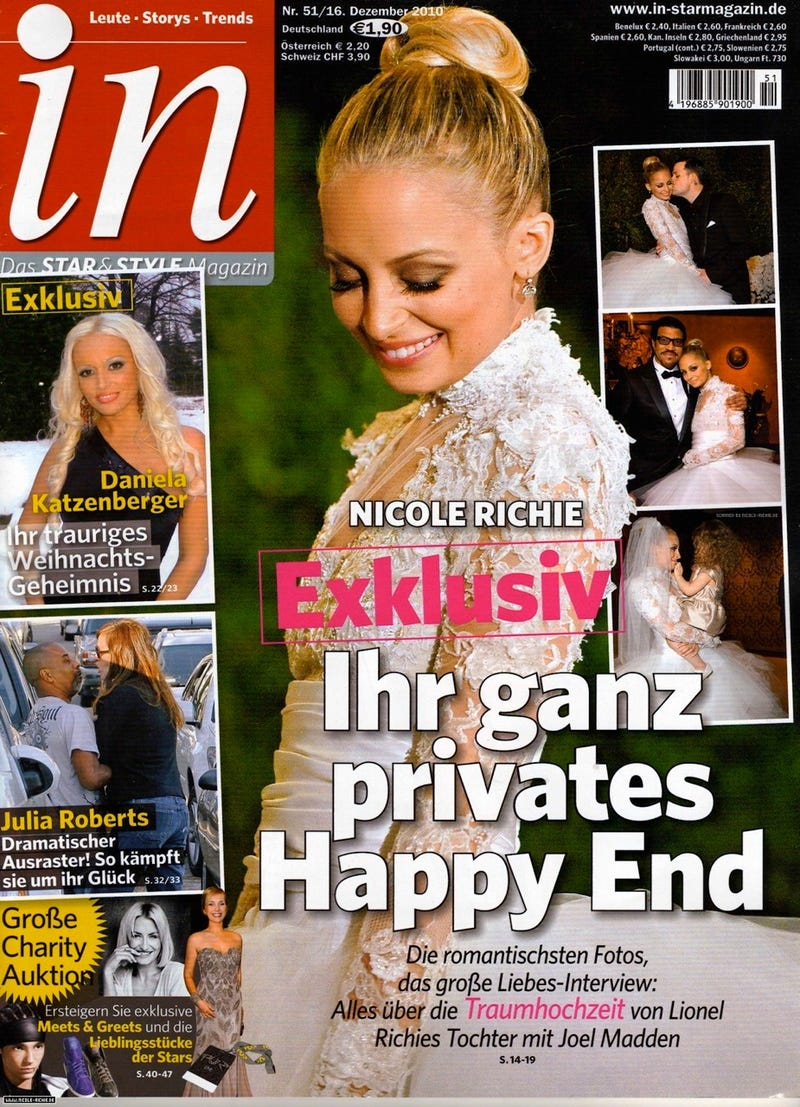 Illustration for article titled Nicole Richie's Intimate Wedding Photos End Up In German Tabloid