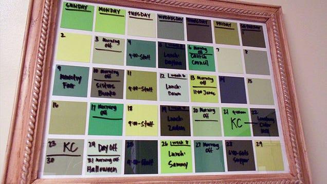 Diy Calendar Paint Chips : Turn paint chips into a dry erase calendar