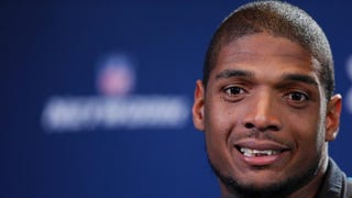 Michael Sam speaks to the media during the 2014 NFL Combine at Lucas Oil Stadium Feb. 22, 2014, in Indianapolis.Joe Robbins/Getty Images