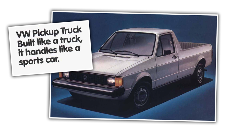 Illustration for article titled Enjoy This Nice Dose of Hyperbole from these 1980s Volkswagen Pickup Ads
