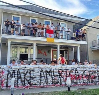 "A section of the ""Trump"" wall that stood outside the Kappa Alpha Order's frat house at Tulane University Twitter"