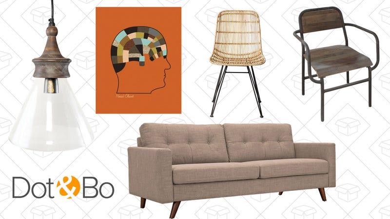 Seychelles Cone Pendant Light, $85 | A Modern Minded Fellow Art Print, $26 | Paragon Rattan Chair, $246 | Schoolhouse Armchair, $103 | Graham Sofa in Pink Ash, $719