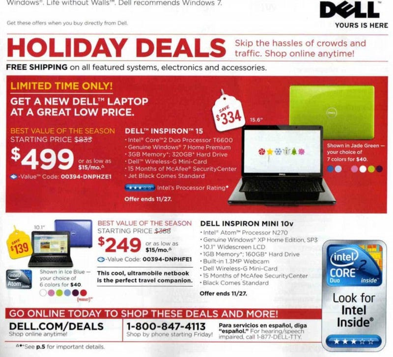 Illustration for article titled Dell's Black Friday Ad Leaks a Few Good Laptop Deals