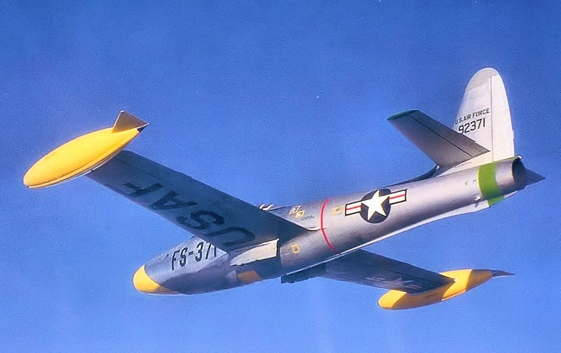 Republic F-84E, the plane didn't have a long service with the USAF but was given to European allies in the thousands