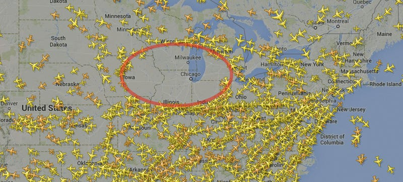 This Map Shows Why Air Traffic In America Is So Screwed - Us-air-traffic-map