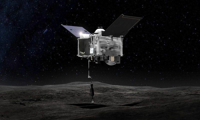 Representación artística de la sonda OSIRIS-REx desplegando el módulo para tomar muestras. Foto: NASA