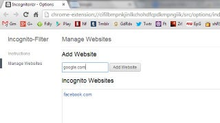 Illustration for article titled Incognito Filter Automatically Opens Specific Sites in Incognito Mode