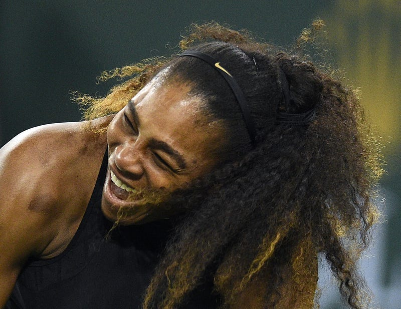 Serena Williams laughing during her match against Zarina Diyas, of Kazakhstan, during day 4 of the BNP Paribas Open on March 8, 2018, in Indian Wells, Calif.