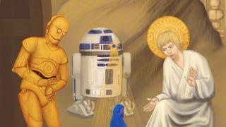 Illustration for article titled Jar Jar Binks attains sainthood in deranged Star Wars religious art
