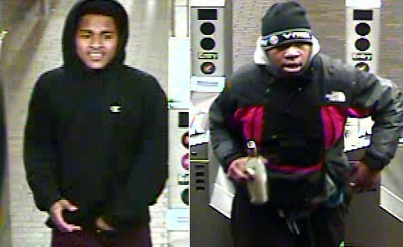 Men police in New York City say are suspects in an attack and robbery on a subway train Nov. 25, 2016Police surveillance photo