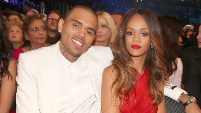 Chris Brown (L) and Rihanna attend the 55th Annual GRAMMY Awards on February 10, 2013 in Los Angeles, California.