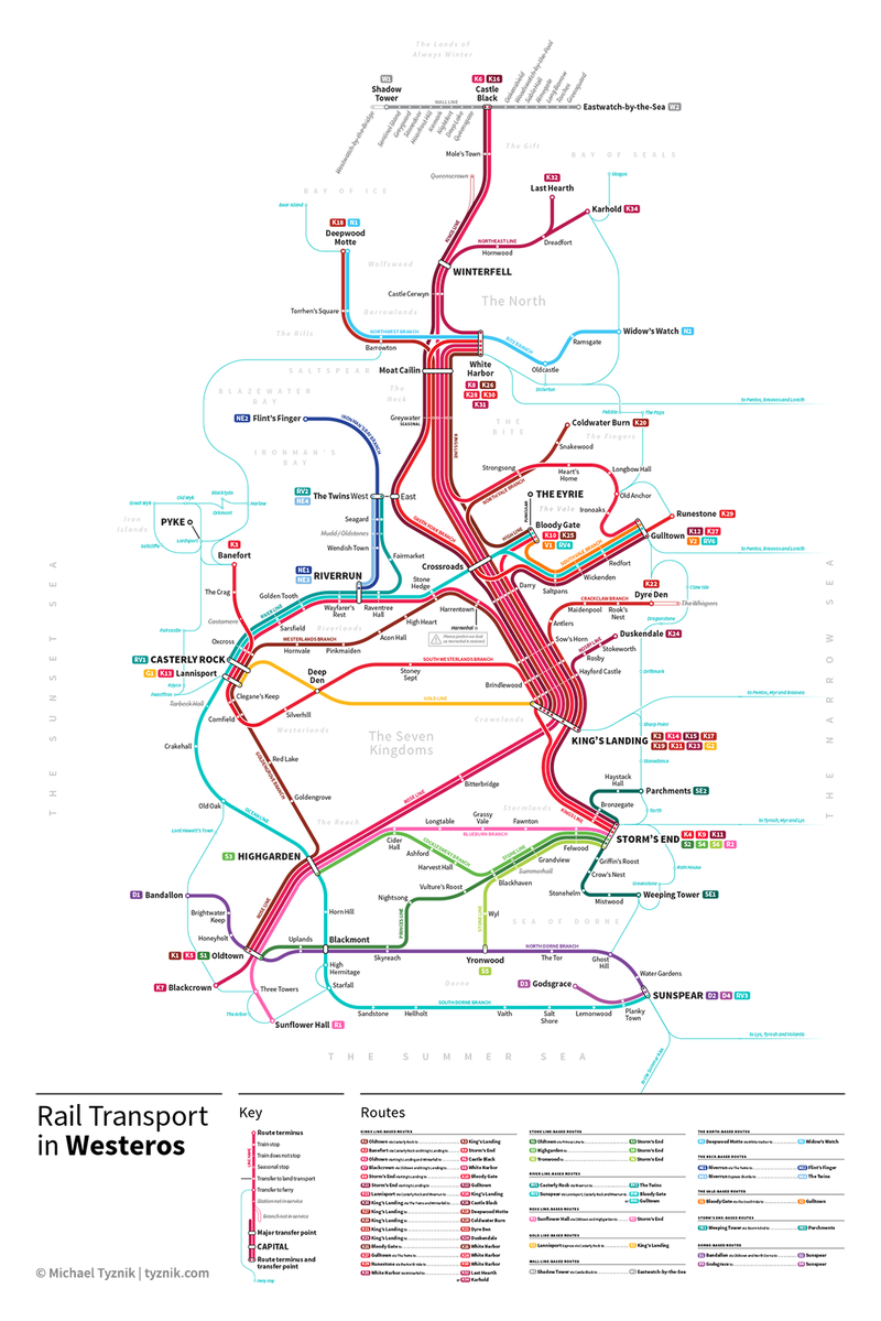 Illustration for article titled Let's Irrationally Obsess Over This Transit System Map of Westeros