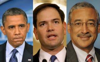 Obama (Jewel Samad/AFP/Getty);Rubio (Chip Somodevilla/Getty);Scott (U.S. House of Representatives)
