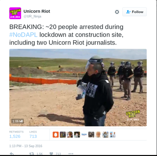 Protesters being arrested during NoDAPL protest Sept. 13, 2016Twitter