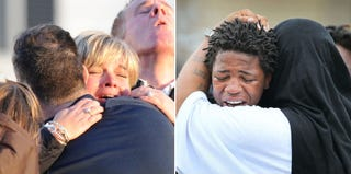 Similar scenes of grief over gun violence in Newtown, Conn., and Chicago (AFP/Getty Images)