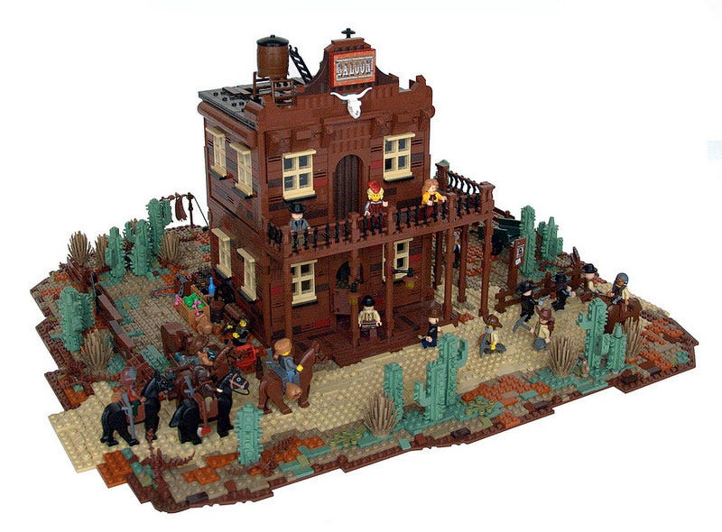 Illustration for article titled This old west Lego saloon even has a madam